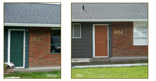 House exterior before and with new paint colors